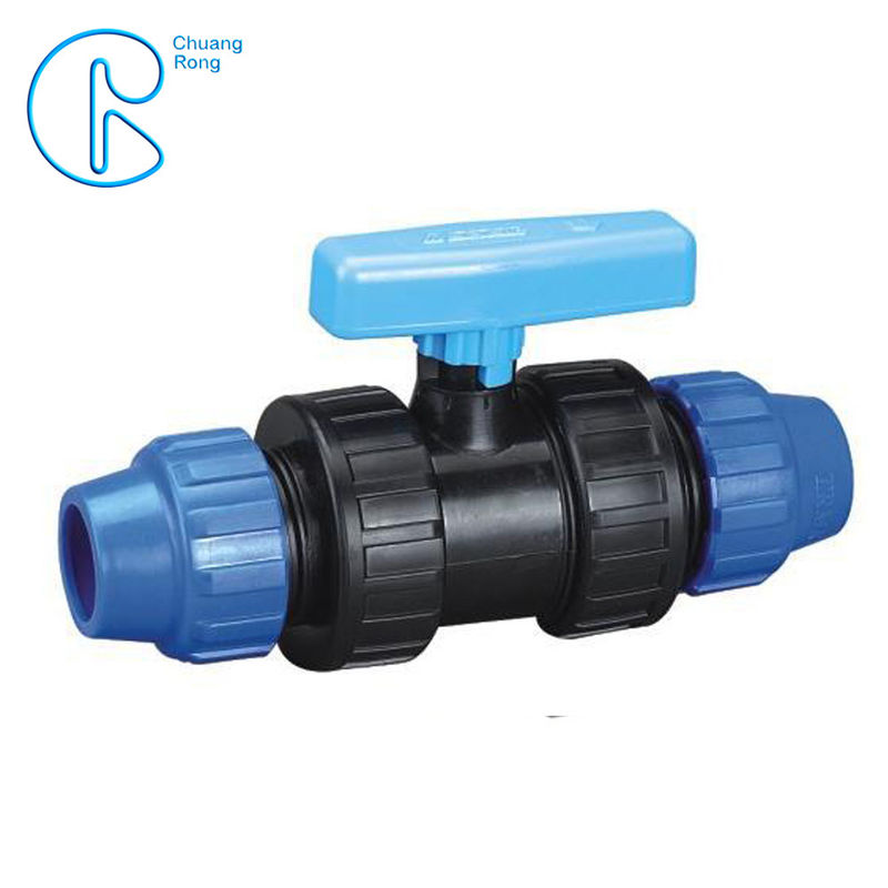 Round Head Blue Fittings PP Compression Ball Valve For Irrigation
