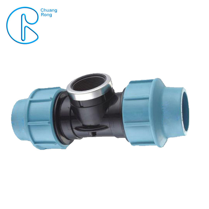 1 / 2 '' To 4 '' Female Thread PP Compression Tee With Ring Nut High Mechanical Resistance